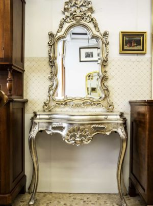 Console and mirror Baroque silver leaf