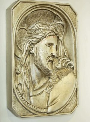Wooden panel with Christ silver finish
