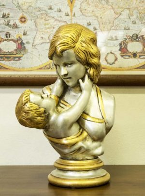 Motherhood statue carved wooden craft