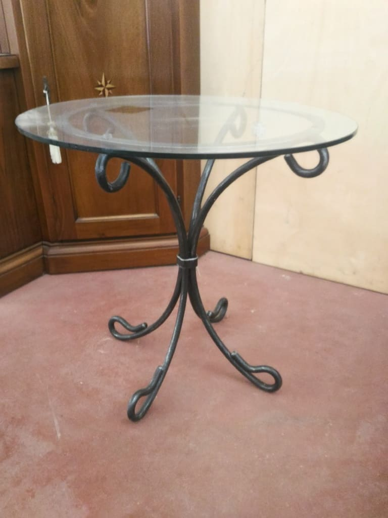 Tavolo Vetro Ferro Battuto.Wrought Iron Coffee Table With Glass Top Diameter 55 Cm