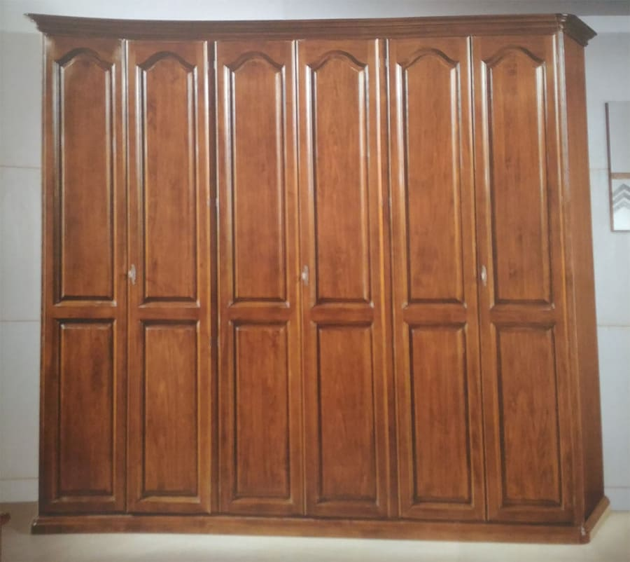 Armadio A 6 Ante.Wardrobe 6 Ante Toulipe Solid Polished Antique