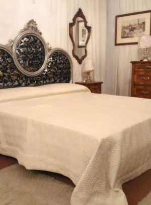 silver leaf bed headboard damask classic
