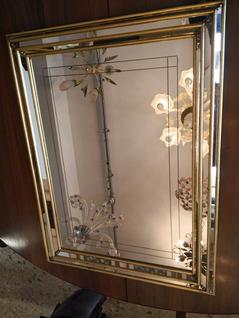 Mirror clamps collected gold leaf finish 82x62 cm