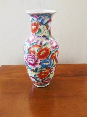 Ceramic vase with floral decoration