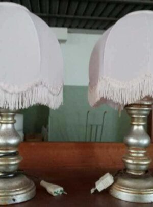 Pair of Abajour lamps with silver finish fabric canopy