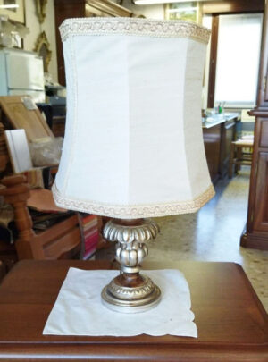 Abajour lamp silver finish Baroque style with hood