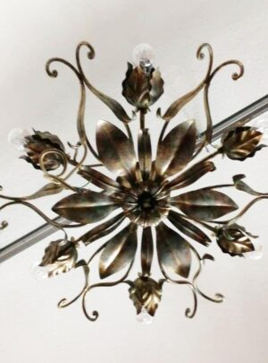Chandelier 6 wrought iron lights and applique pair