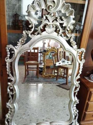 Baroque style hand carved silver leaf mirror 155x95 cm