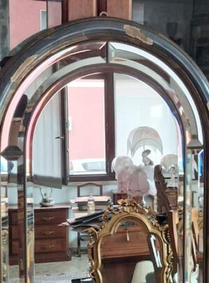 Mirror in lime-tree with ground glass to be restored 45x168 cm