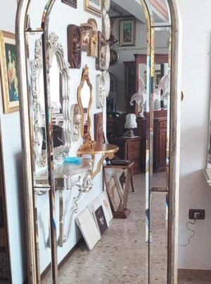 Mirror with antique silver finish bevelled mirrors 65x175 cm