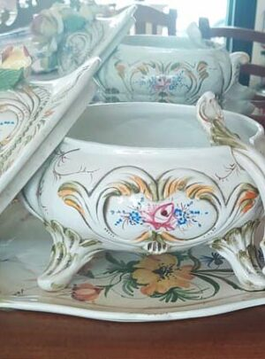 Tureen set and decorated ceramic tray